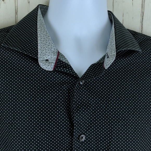 Bugatchi Mens Fitted Long Sleeve Printed Cotton Polka Dots Design Shirt